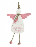 Gisela Graham - Pink/White Wood Guardian Angel